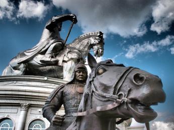 Chinggis Khaan and a knight