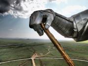 Panorama behind Chinggis Khan's golden whip