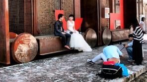 Wedding photo set in District 798 - Beijing