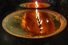 Yak butter oil lamps
