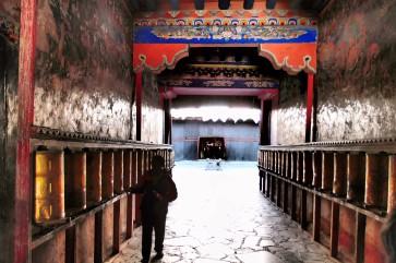 Spinning prayer wheels - Sakya Monastery
