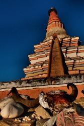 Stupa and yak skull