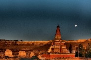 Stupa and full moon